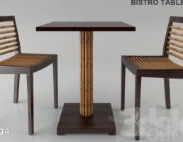 نیمکت + میز چوبی باغ