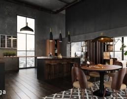 صحنه داخلی آشپزخانه مدرن