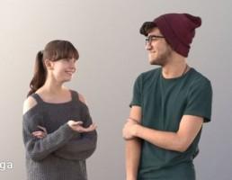 کاراکتر دختر و پسر در حال حرف زدن