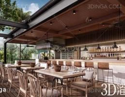 صحنه داخلی رستوران سبک جنوب آسیای شرقی