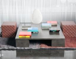 قالیچه خزدار + میز و صندلی