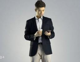 کاراکتر مرد ایستاده در حال کار با تلفن