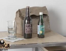 میز + بطری + لیوان