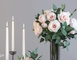 گلدان + گل رز + شمعدان