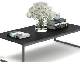 میز عسلی + کتاب + گلدان + گل رز