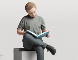 کاراکتر پسر نشسته در حال مطالعه