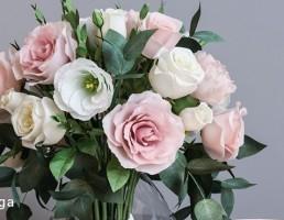 گلدان + گل رز + شمع + شمعدان