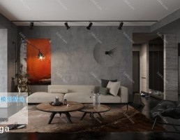 اتاق نشیمن کلاسیک سبک صنعتی