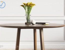 میز + گلدان + کتاب