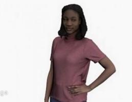 کاراکتر زن ایستاده با شلوار جین و تیشرت قرمز