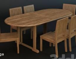 میز و صندلی چوبی باغ