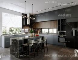 صحنه داخلی آشپزخانه سبک مدرن