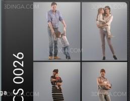 کاراکترها مرد و زن با بچه هایشان
