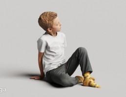 کاراکتر پسر بچه نشسته