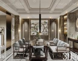 صحنه داخلی اتاق چای سبک چینی