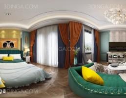 صحنه داخلی پانورامای اتاق خواب
