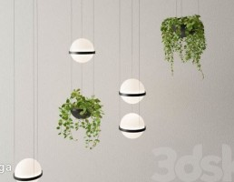 چراغ سقفی آویز + گلدان