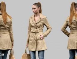 کاراکتر دختر با لباس بارانی در حال قدم زدن