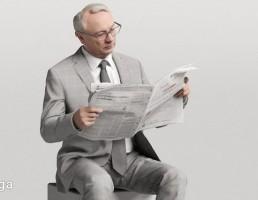 کاراکتر مرد نشسته در حال خواندن روزنامه