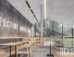 صحنه داخلی کافه مدرن