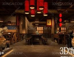 صحنه داخلی چایخانه سبک چینی