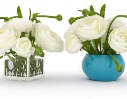 گلدان +گل رز