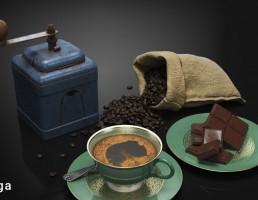 قهوه + آسیاب قهوه + فنجان قهوه