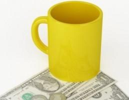 پول نقد + لیوان