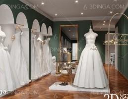 صحنه داخلی فروشگاه عروس مدرن