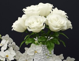 گلدان + گل نرگس + گل رز