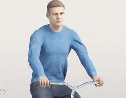 کاراکتر مرد با ژاکت آبی در حال دوچرخه سواری