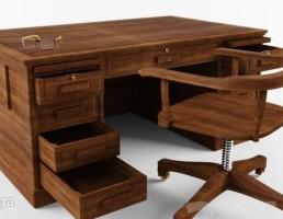 ست میز کمدی + صندلی چوبی