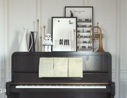 پیانو + نت موسیقی + ترومپت