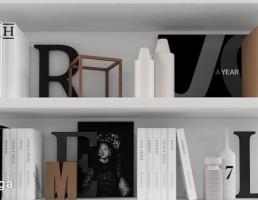 کتابخانه چوبی + وسایل تزیینی