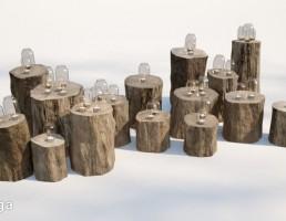 نیمکت چوبی + شمع + شمعدان