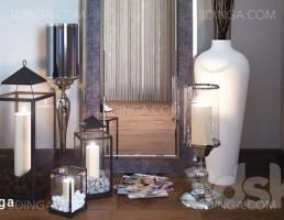 آینه قدی + شمع و شمعدان + گلدان