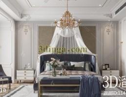 صحنه داخلی اتاق خواب اروپایی