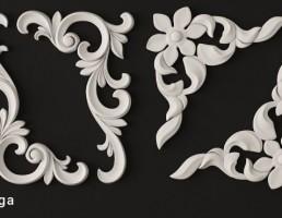 گچبری به شکل گل برای کنج