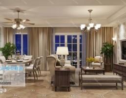 اتاق نشیمن کلاسیک سبک آمریکایی
