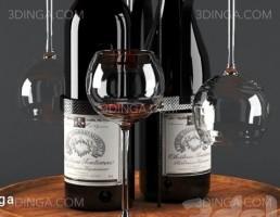 بار + بطری شراب + شراب خوری