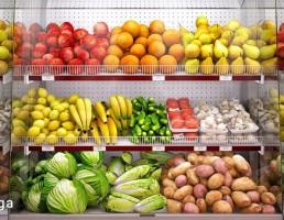 ویترین میوه های فروشگاه