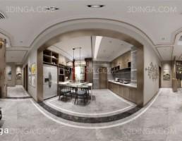 صحنه داخلی اتاق نشیمن + ناهارخوری به سبک پاروناما