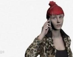 کاراکتر زن ایستاده با کت در حال صحبت با تلفن