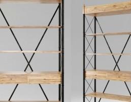 مدل سه بعدی قفسه چوبی