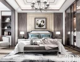 صحنه داخلی اتاق خواب سبک چینی