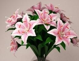 گلدان شیشه + گل لیلیوم