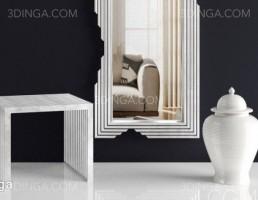 آینه قدی + گلدان و صندلی چوبی