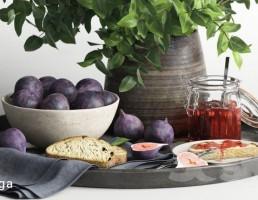 سینی صبحانه + گلدان + گیاه طبیعی