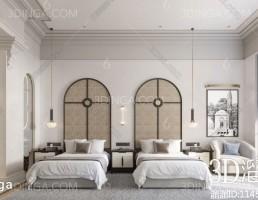 صحنه داخلی اتاق هتل سبک اروپایی