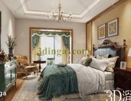صحنه داخلی اتاق خواب آمریکایی